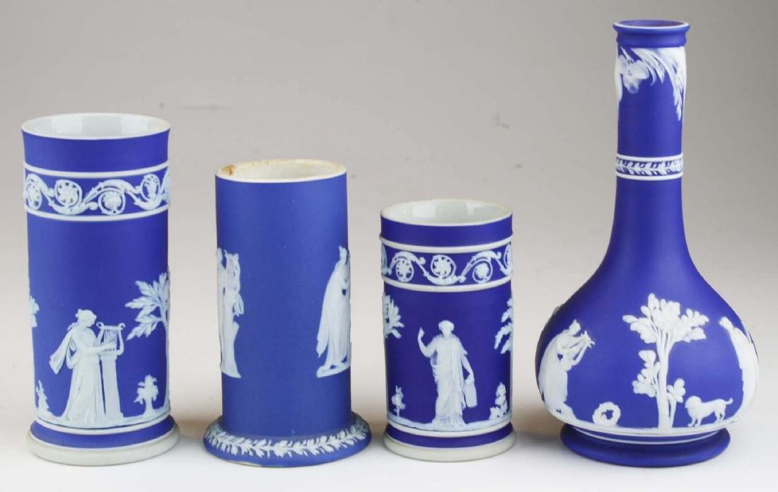 4 Wedgwood cobalt blue dip  Jasperware vases including - 4