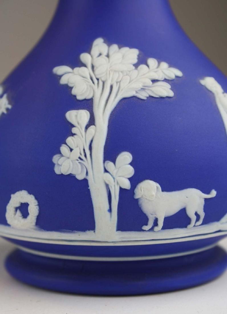 4 Wedgwood cobalt blue dip  Jasperware vases including - 6