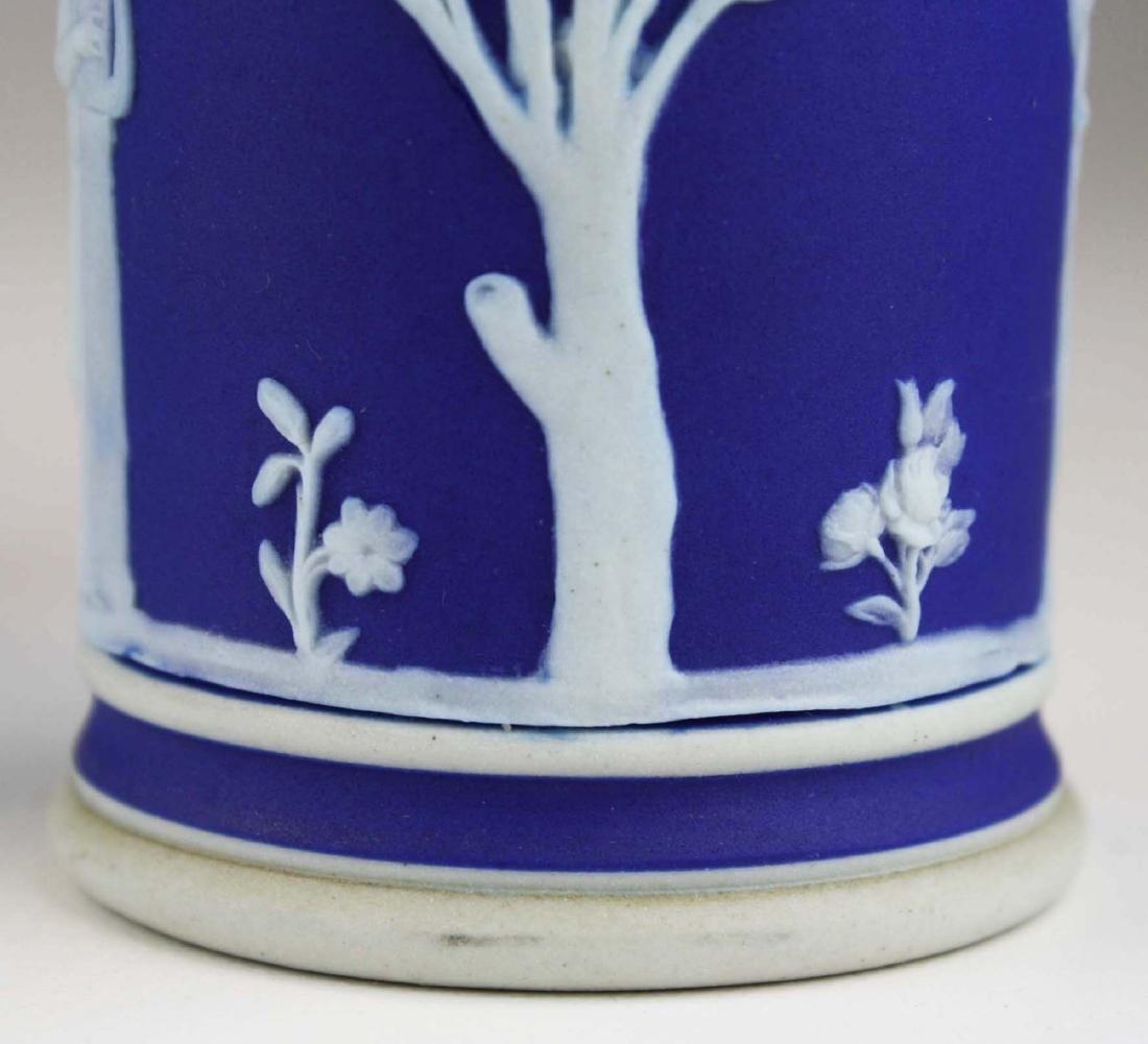 4 Wedgwood cobalt blue dip  Jasperware vases including - 8