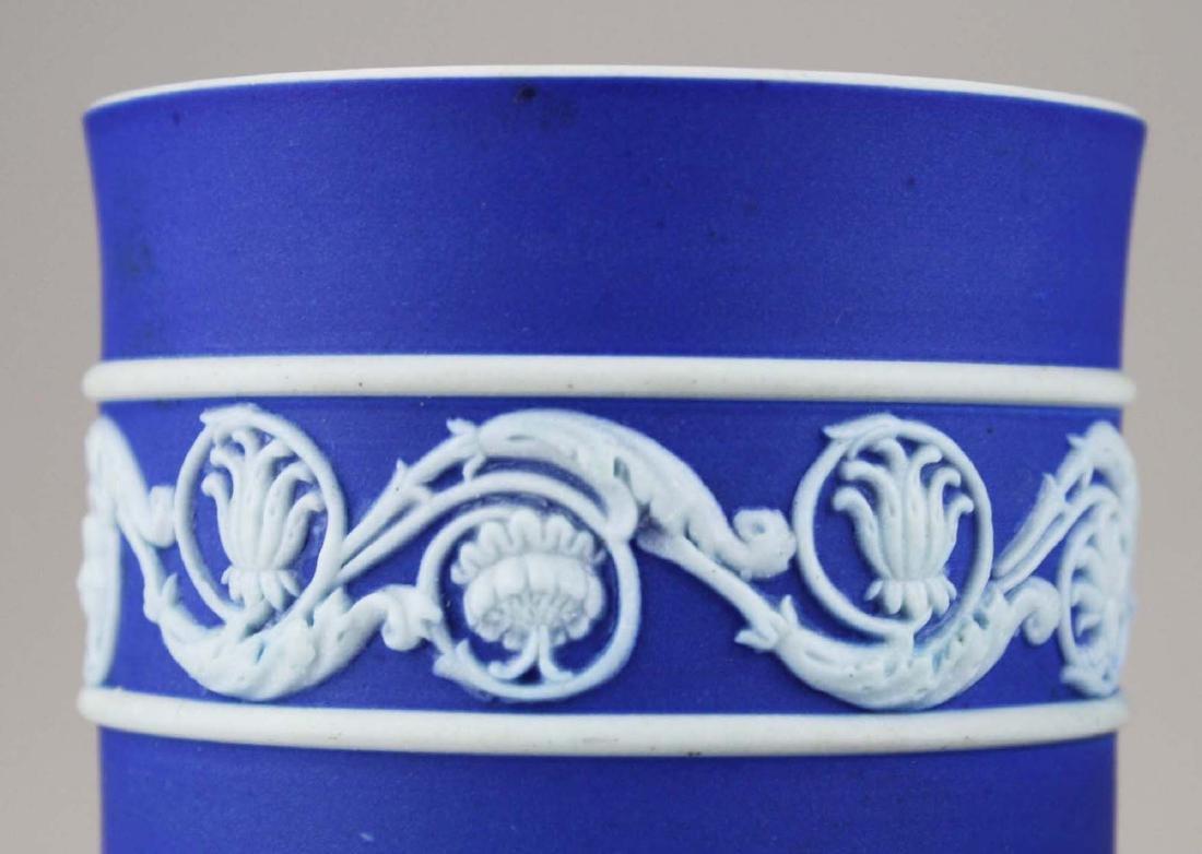 4 Wedgwood cobalt blue dip  Jasperware vases including - 9