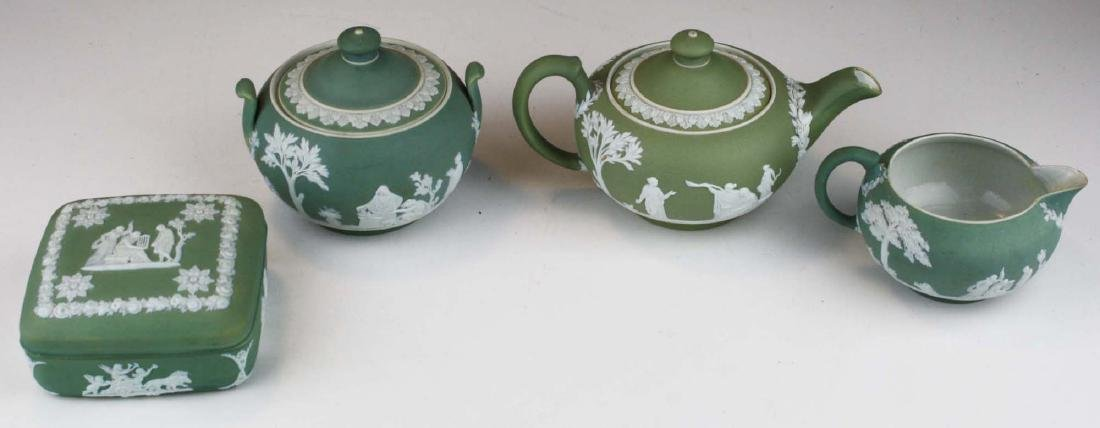 Wedgwood sage green dip Jasperware 3 pc tea set and