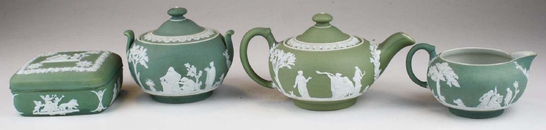 Wedgwood sage green dip Jasperware 3 pc tea set and - 2