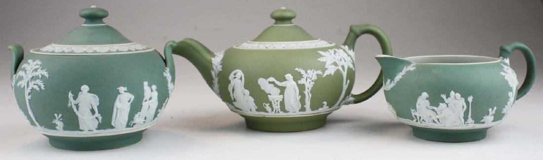 Wedgwood sage green dip Jasperware 3 pc tea set and - 3