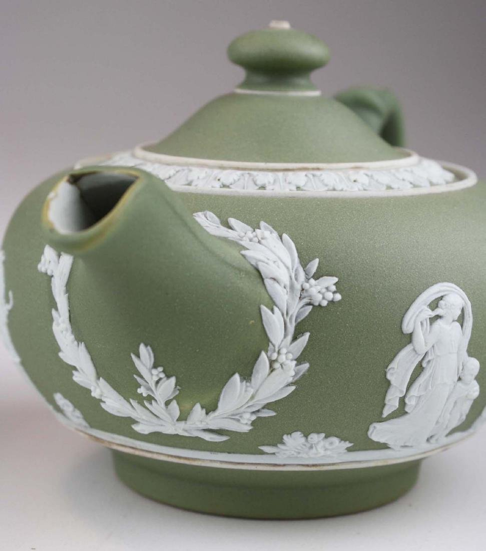 Wedgwood sage green dip Jasperware 3 pc tea set and - 7