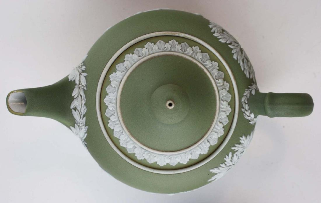 Wedgwood sage green dip Jasperware 3 pc tea set and - 8