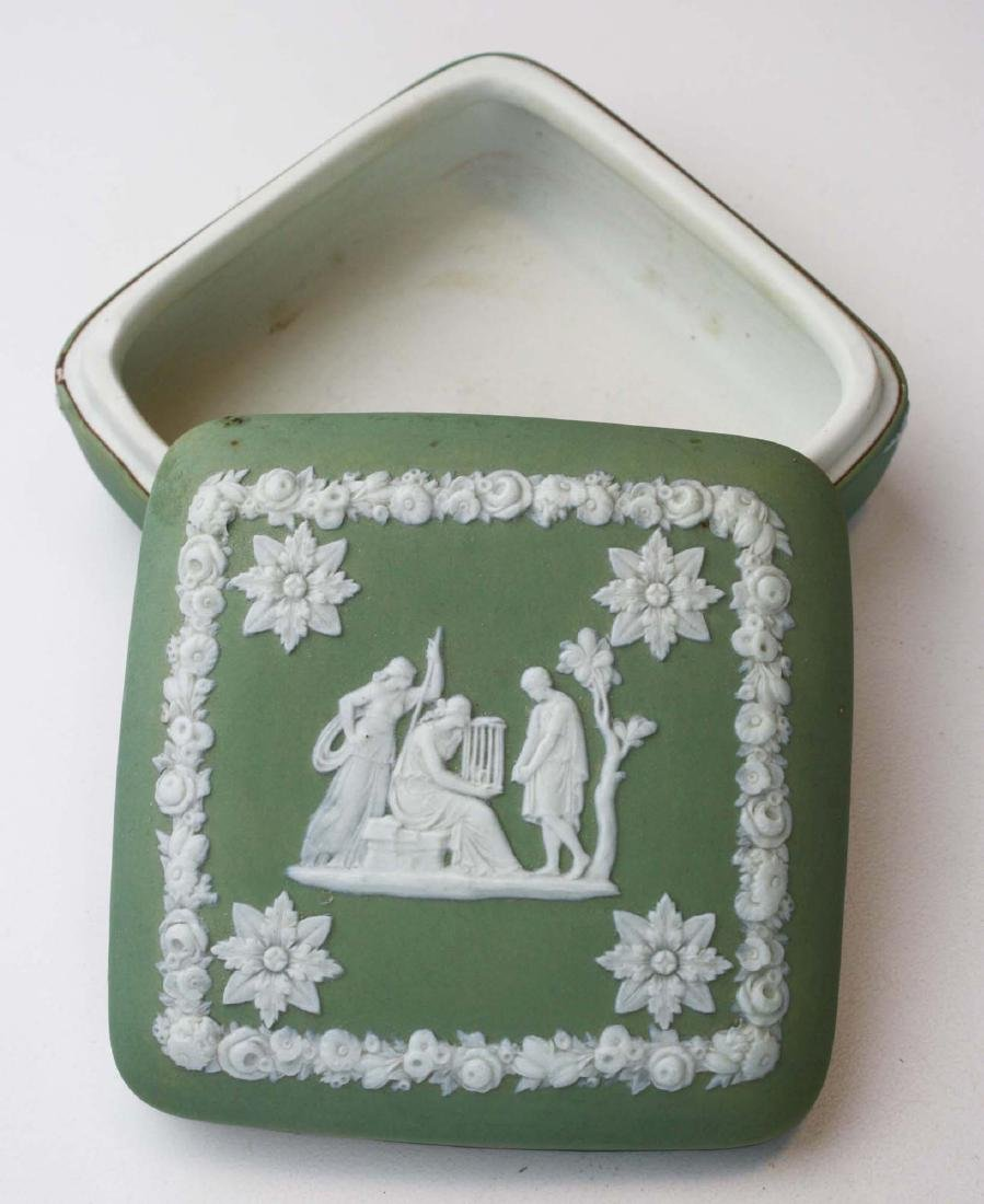 Wedgwood sage green dip Jasperware 3 pc tea set and - 9