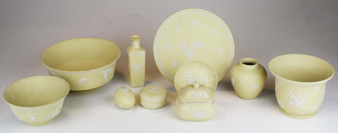 10 pcs Wedgwood primrose yellow Jasperware with Prunus