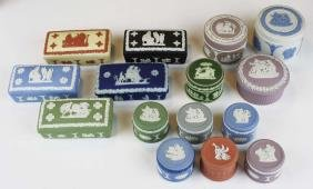 15 Wedgwood Jasperware covered boxes including