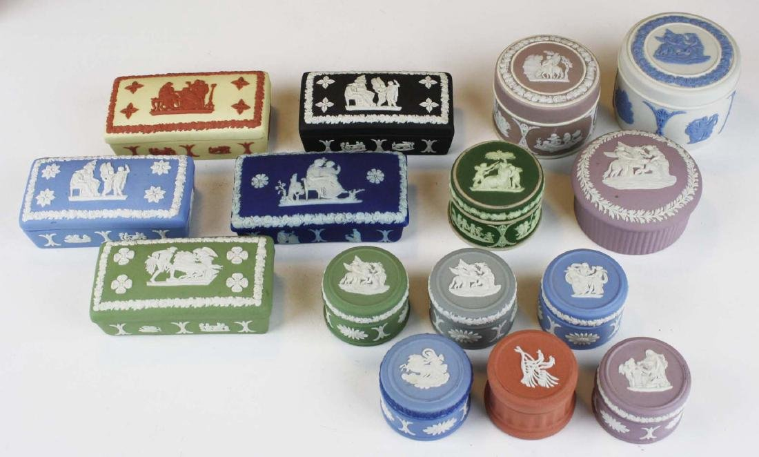 15 Wedgwood Jasperware covered boxes including