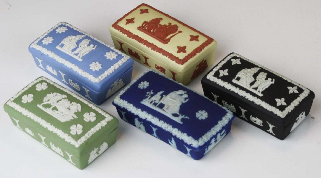 15 Wedgwood Jasperware covered boxes including - 3