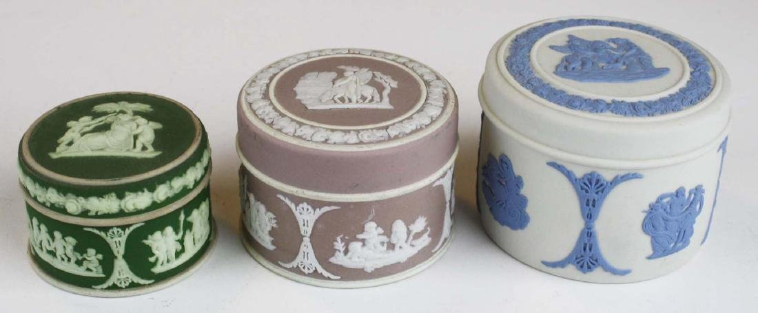 15 Wedgwood Jasperware covered boxes including - 4