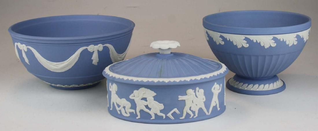 3 Wedgwood solid blue Jasperware pieces, mint in