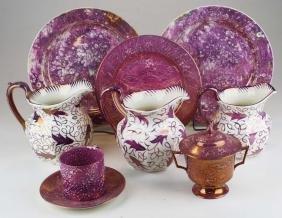8 pcs Wedgwood Pink Lustre decorated porcelain