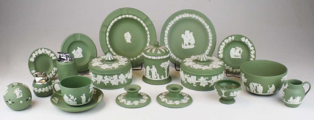 18 pcs. Wedgwood solid sage green Jasperware tableware