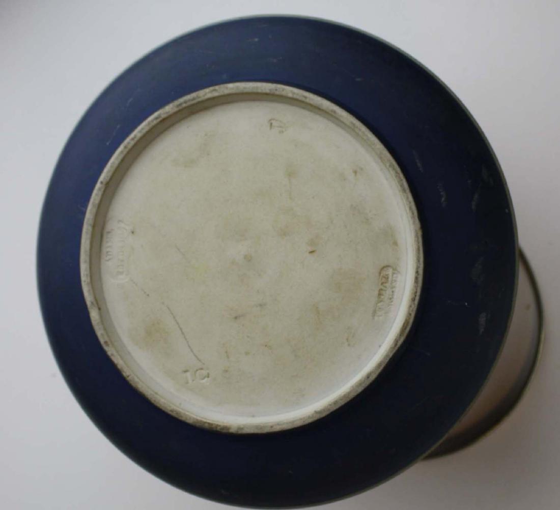 2 Adams England cobalt blue dip Jasperware biscuit jars - 10