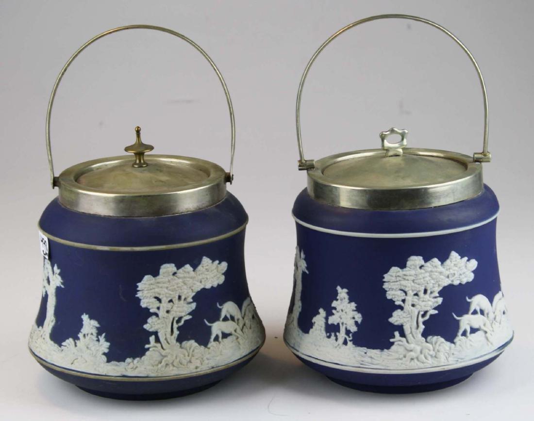 2 Adams England cobalt blue dip Jasperware biscuit jars
