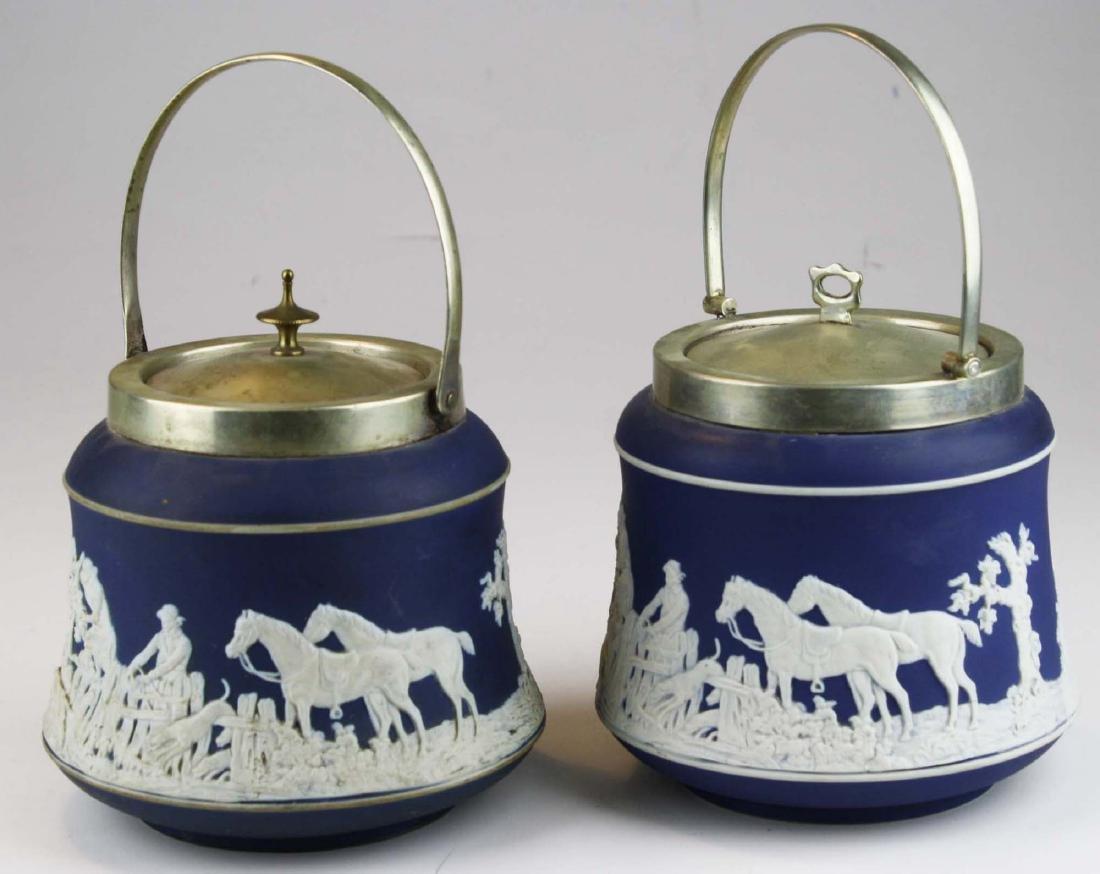 2 Adams England cobalt blue dip Jasperware biscuit jars - 2