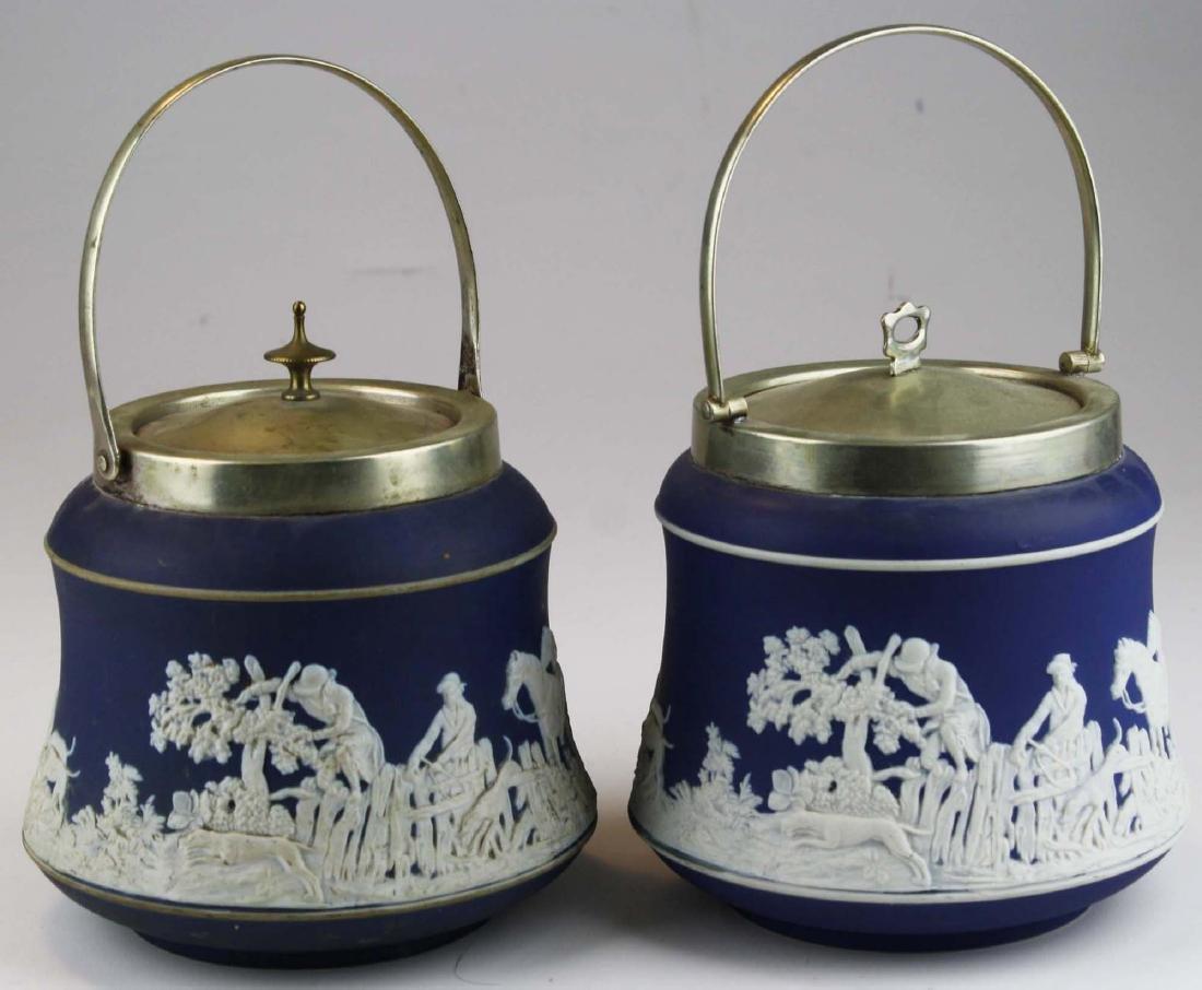 2 Adams England cobalt blue dip Jasperware biscuit jars - 3