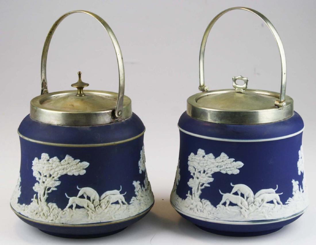 2 Adams England cobalt blue dip Jasperware biscuit jars - 4