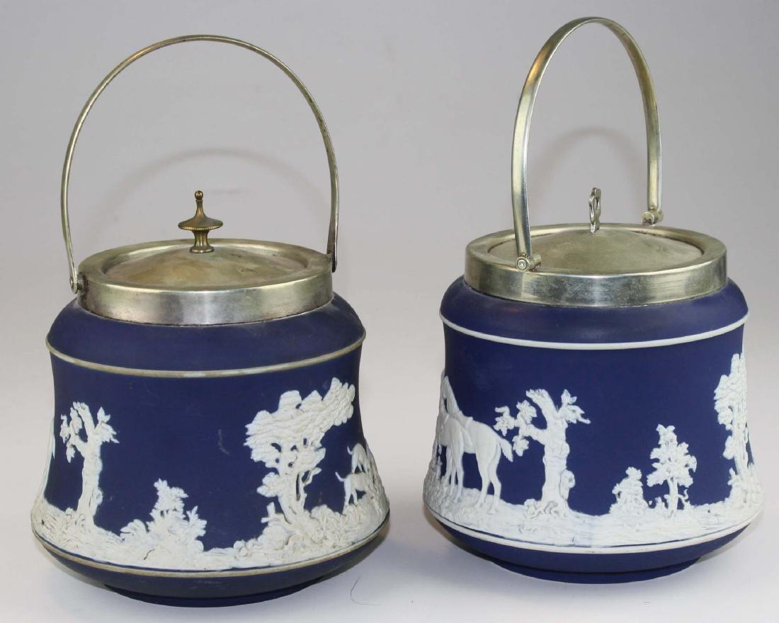 2 Adams England cobalt blue dip Jasperware biscuit jars - 5
