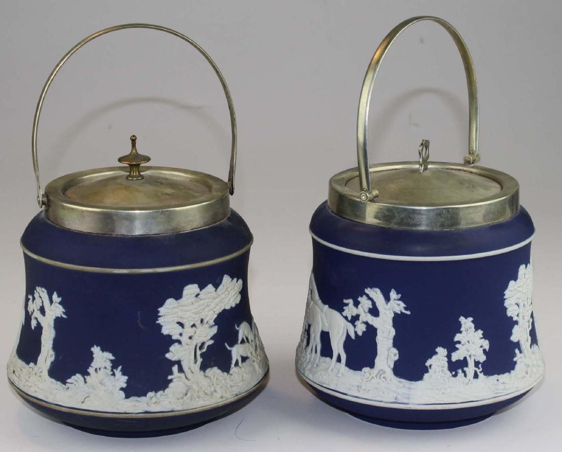2 Adams England cobalt blue dip Jasperware biscuit jars - 6