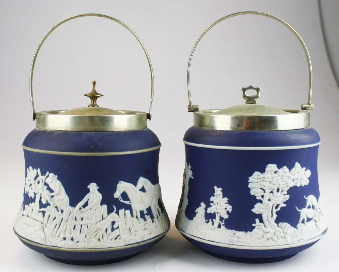 2 Adams England cobalt blue dip Jasperware biscuit jars - 7