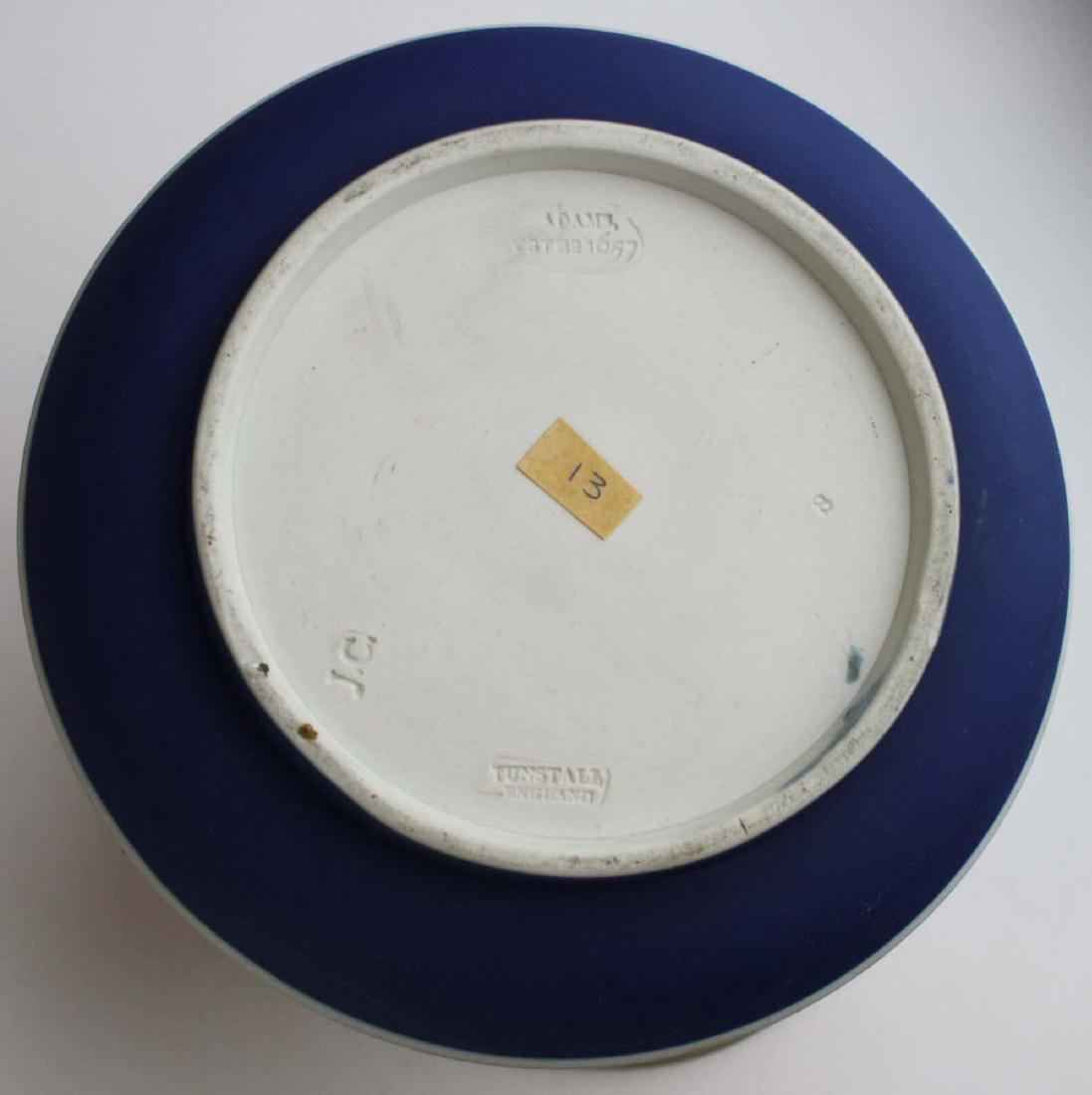 2 Adams England cobalt blue dip Jasperware biscuit jars - 9