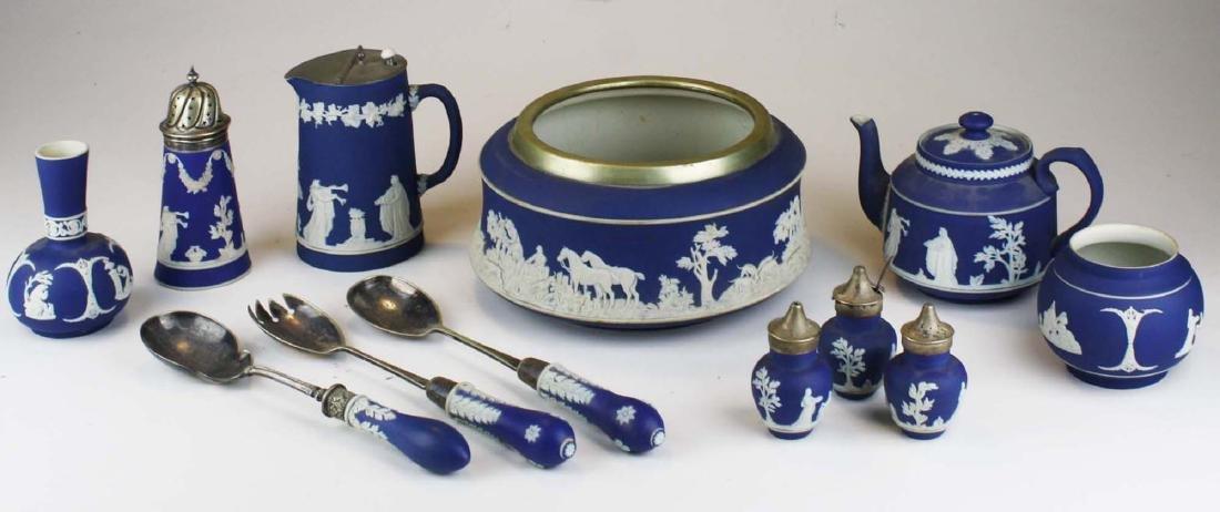 12 pcs Adams England cobalt blue dip Jasperware pcs