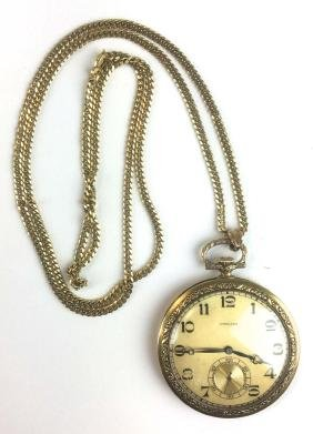 14k y.g Longines gilt open face pocket watch with 18k