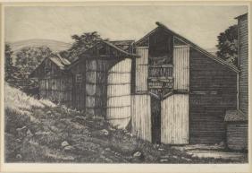Luigi Lucioni (VT 1900-1988) The Nestled Barns