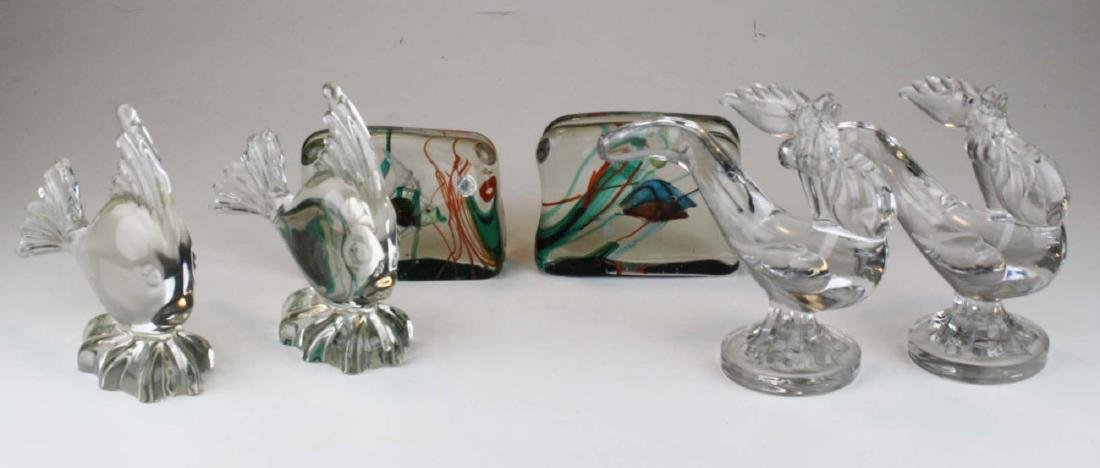 3 pair of mid-century Murano glass mantel figures or