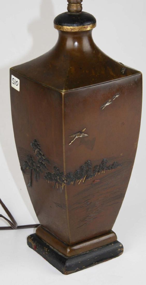 Japanese mixed metals vase/ lamp - 2