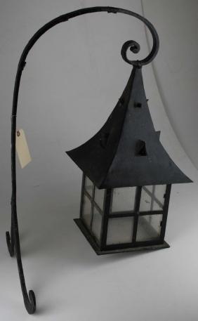 20th c Arts & Crafts wrought iron porch lantern