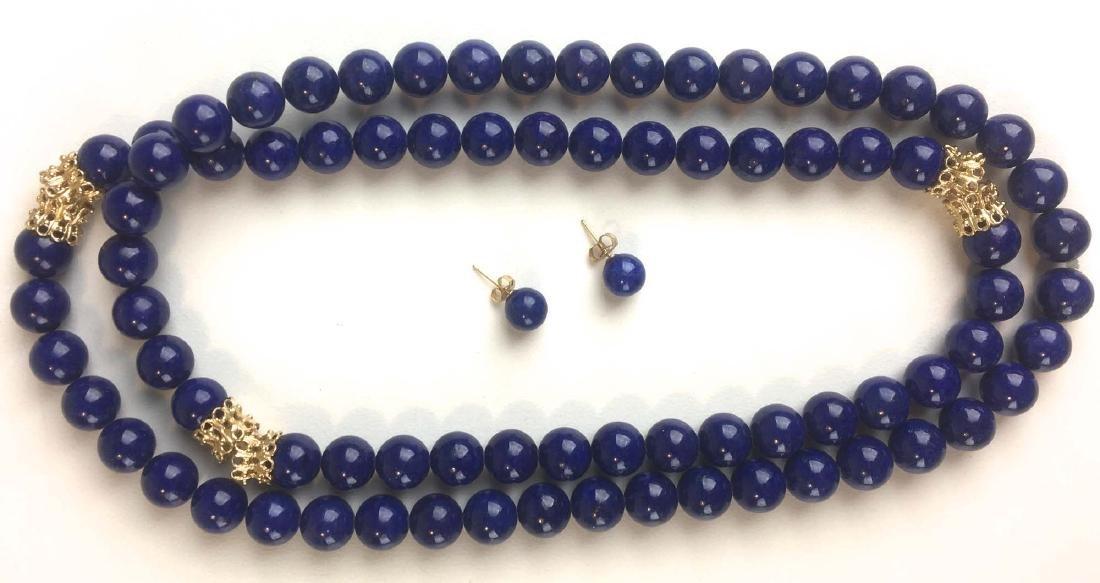Fine lapis bead necklace.