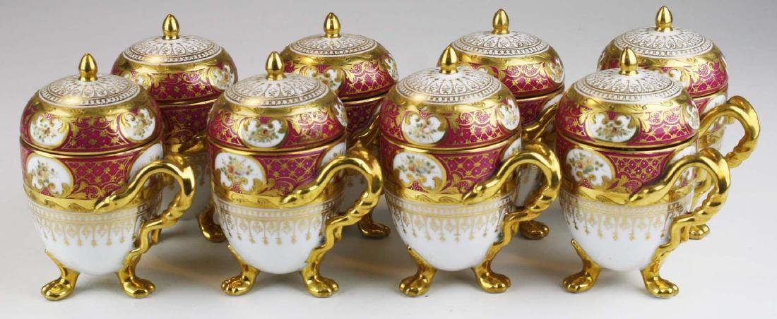 set of 8 Dresden egg form triple claw footed Pot de - 2