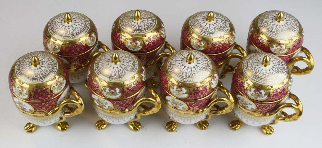 set of 8 Dresden egg form triple claw footed Pot de - 3