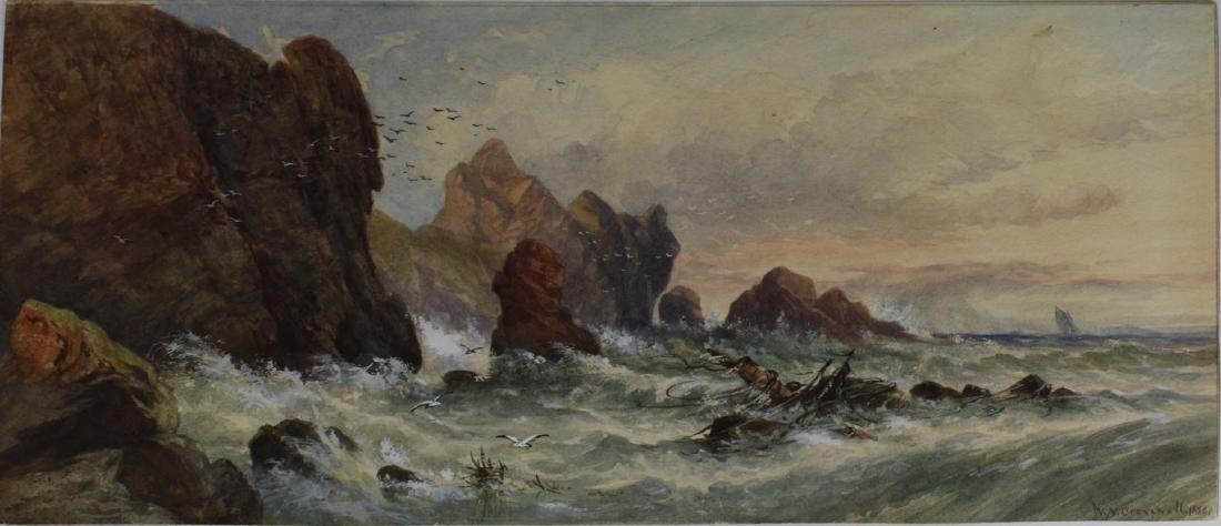 1888 Wm Nichol Cresswell w/c wreck on a shoreline