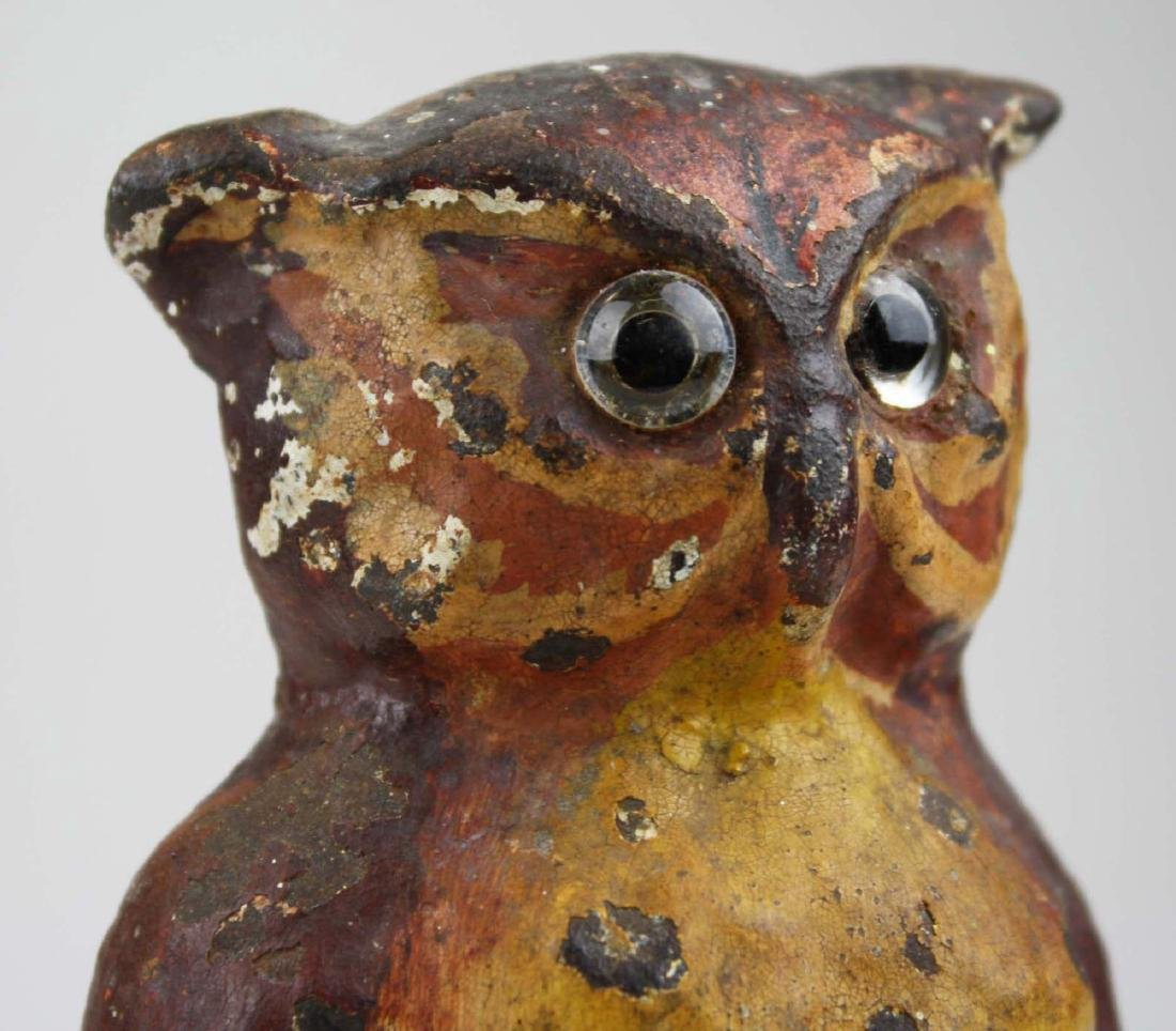 early 20th c owl cast iron doorstop w/ glass eyes - 7