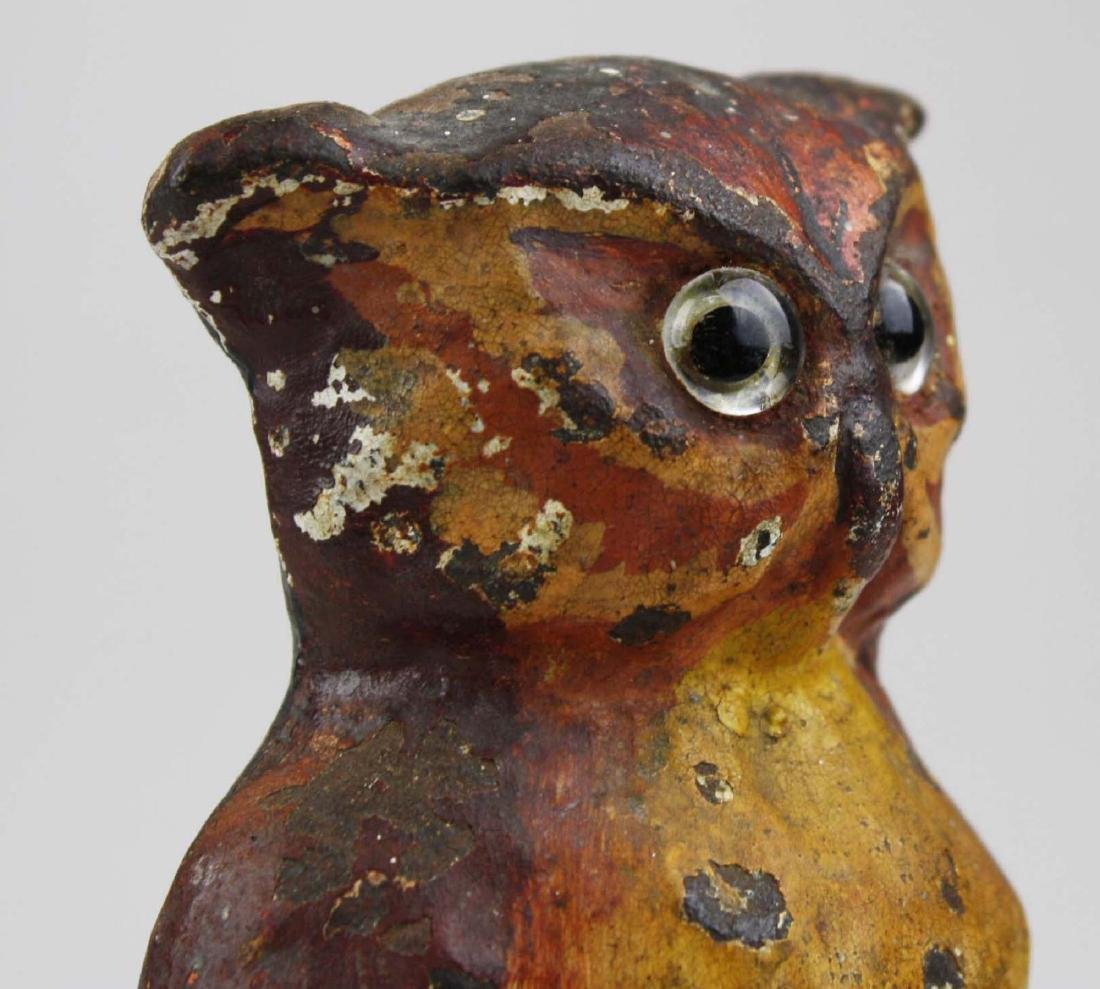 early 20th c owl cast iron doorstop w/ glass eyes - 8