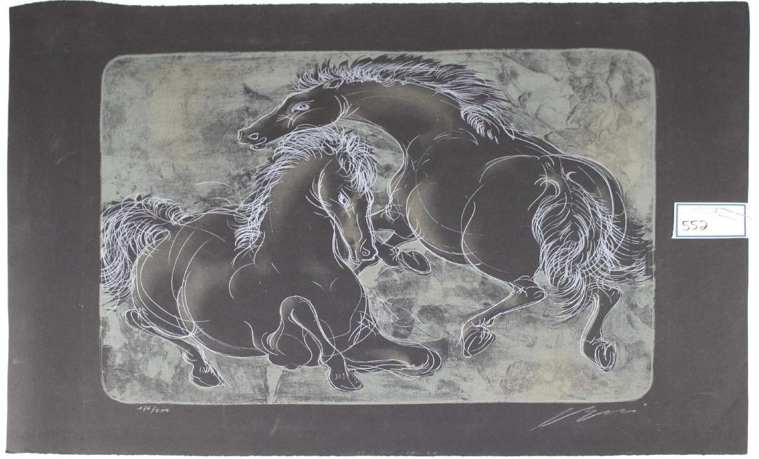 """1950's Hans Erni litho """"2 Horses, from Bestiare"""""""