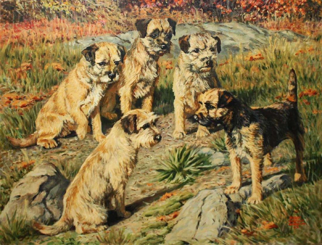 Helen Wilson Sherman (American 1913-2005) Five Terrier
