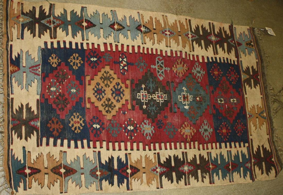 late 19th- early 20th c flatwoven tribal kilim