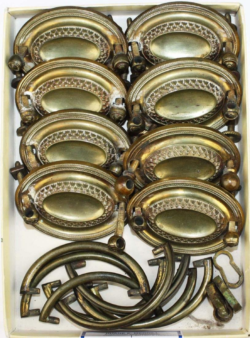 19th c set of 8 Hepplewhite stamped oval brasses