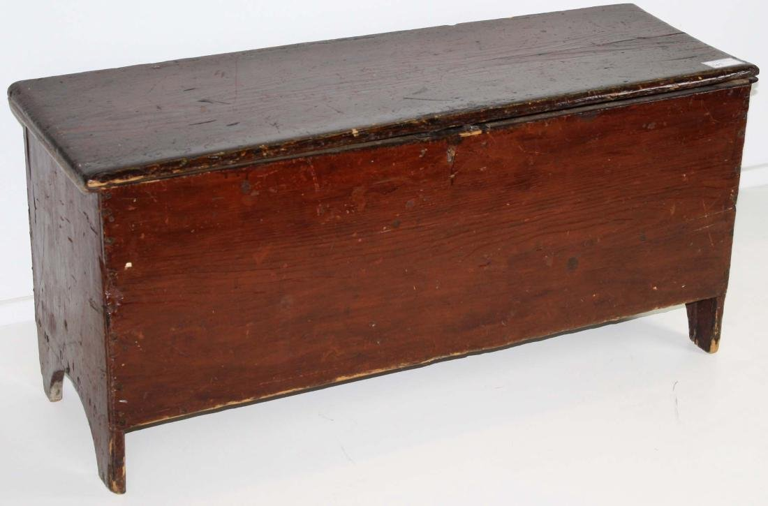 19th c Pine bootjack end blanket box