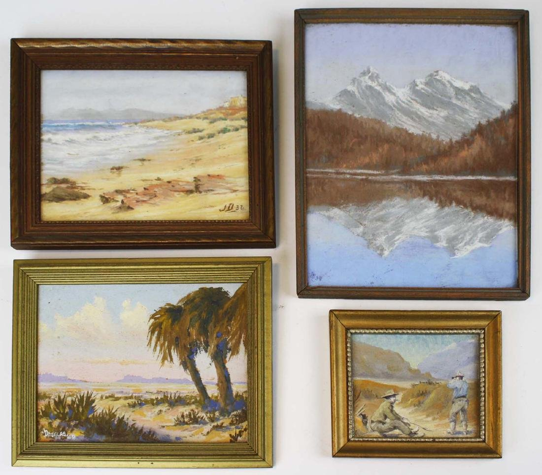 Four small western scenes by J Douglas