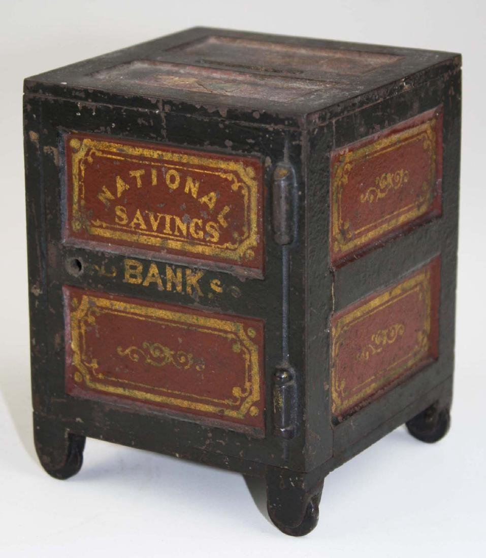 19th c National Savings Bank cast iron still bank