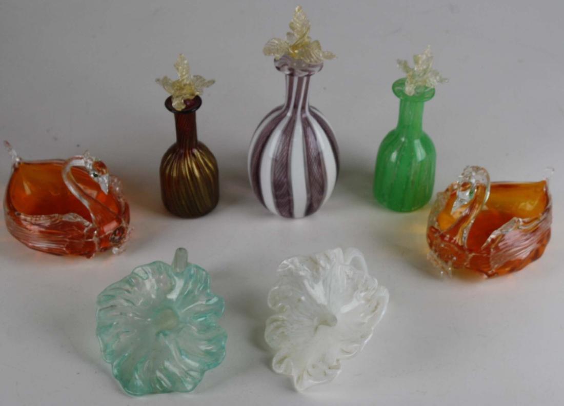 7 pcs handblown Venetian glass including 3 perfume