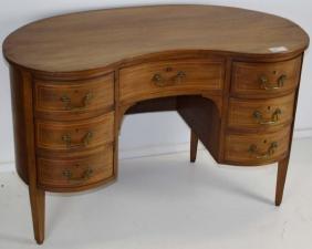 Kidney Shaped inlaid mahogany desk
