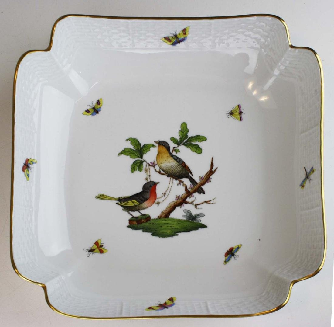 Herend Rothchild's Bird square scalloped edge serving