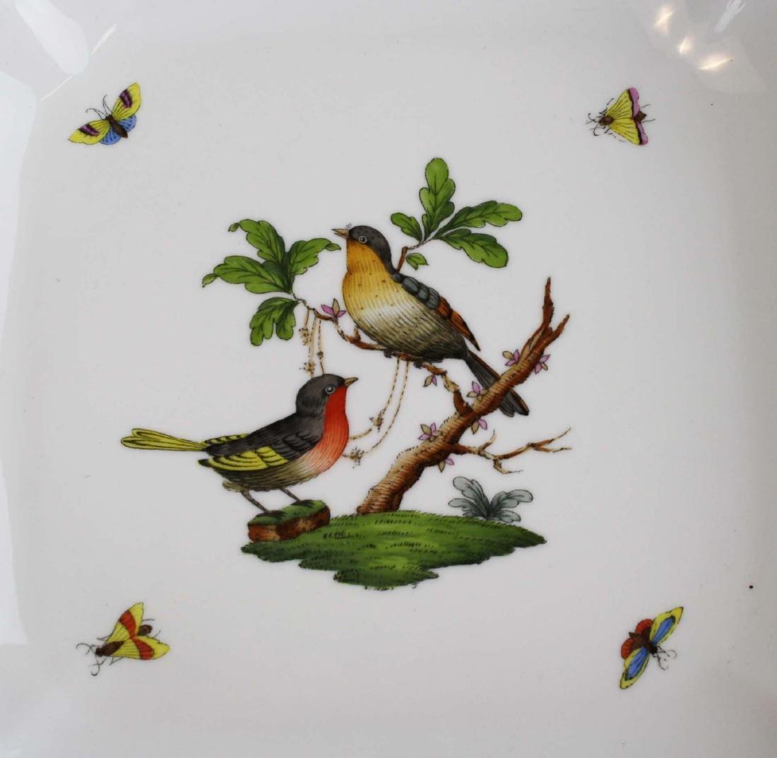 Herend Rothchild's Bird square scalloped edge serving - 3